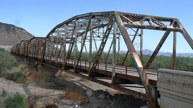 The historical Gillespie Dam Bridge Buckeye AZ