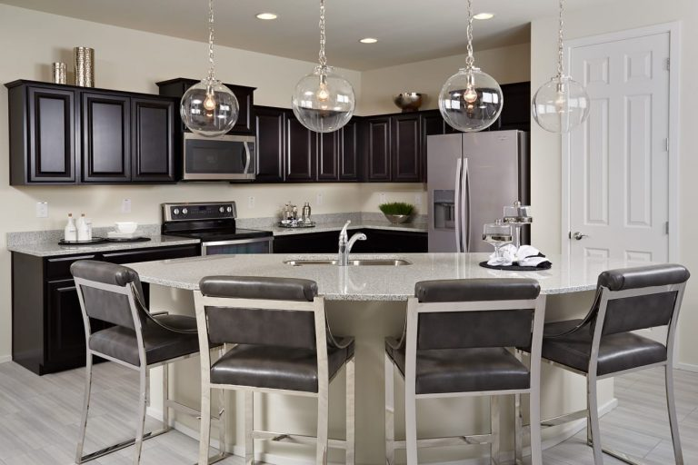 Pyramid Peak Pulte Cosenza - open kitchen pantry pendant lamps bar