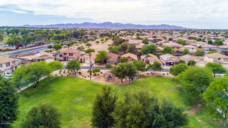 homes with mountain views and green parks in el mirage az