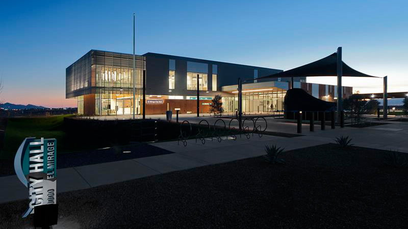 the new city hall at dusk in el mirage az