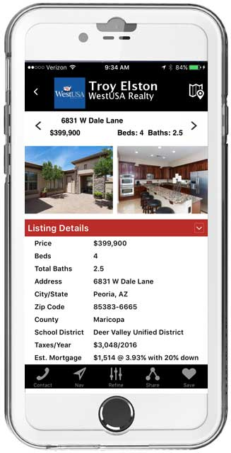 Home Search Mobile App Detail Page