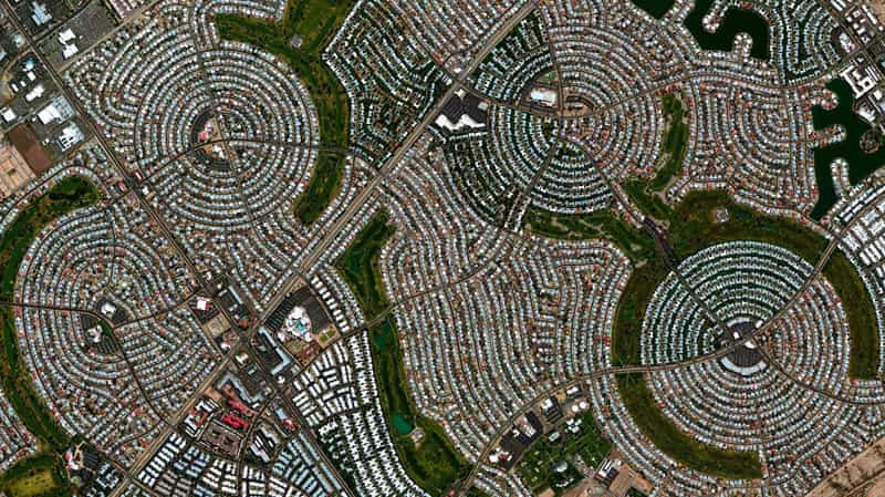 sun city az phase one and two city layout view from air